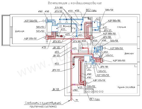 Схема системы вентиляции и